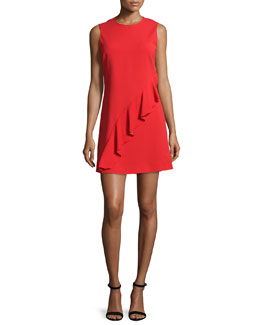 Clarence Sleeveless Ruffle Dress, Tomato