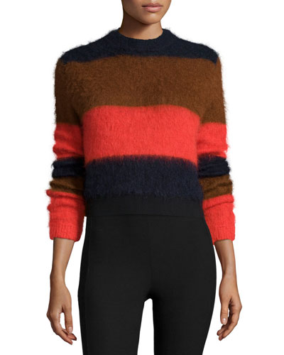 Petra Striped Pullover Sweater, Fiery Red