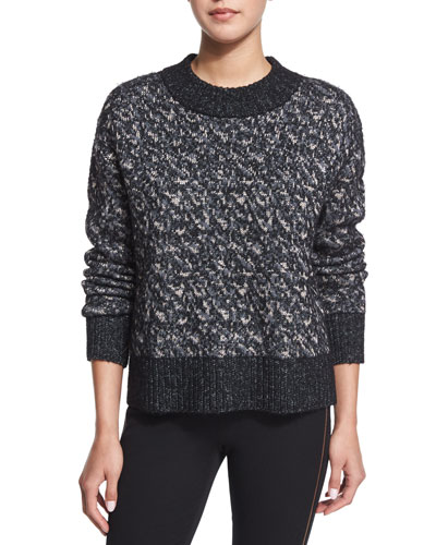 Scarlett Boxy Melange Sweater, Black