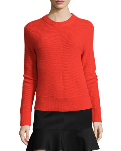 Alexis Cashmere Pullover Sweater, Fiery Red