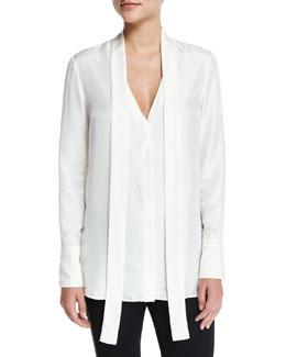 Florence Silk Tie-Neck Shirt, Antique White