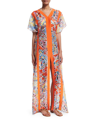 Light Mosaico Short-Sleeve Caftan Dress, Celeste/Arancio