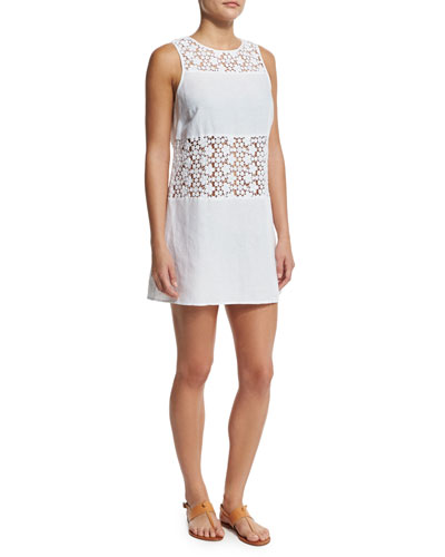 Crocheted-Lace A-Line Coverup Dress