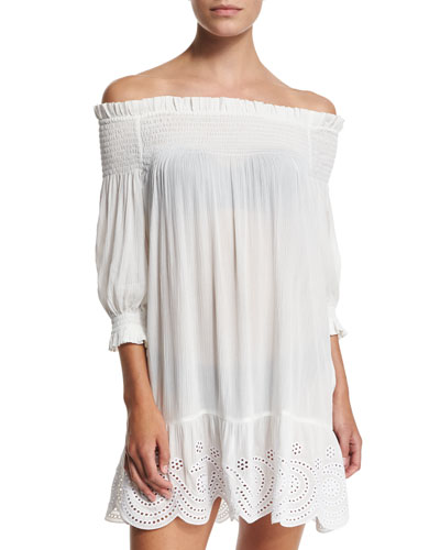 Smocked Off-the-Shoulder Coverup Dress