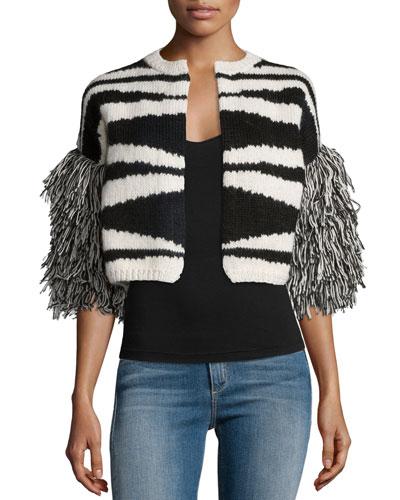 Pilar Fringe-Sleeve Cropped Sweater, Black/Ivory