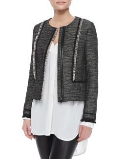 Fringe-Trim Boucle Jacket