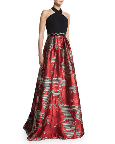 Sleeveless Halter Combo Full-Skirt Gown