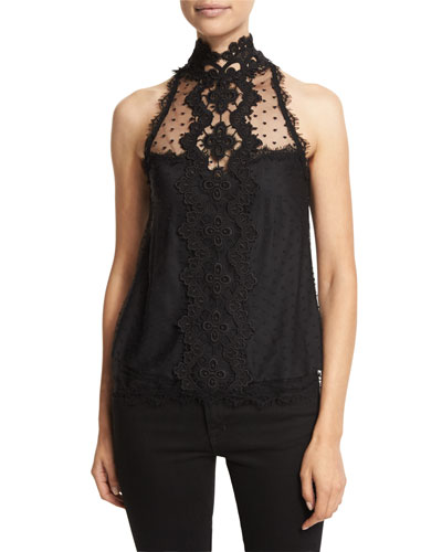 Sleeveless High-Neck Lace Tank