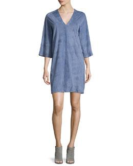 Suede V-Neck Shift Dress