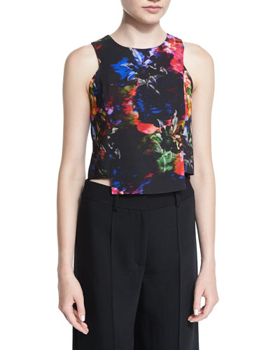 Jewel Floral-Print Cropped Shell