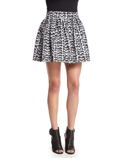 Fizer Box-Pleated Glasses Skirt, Black/White