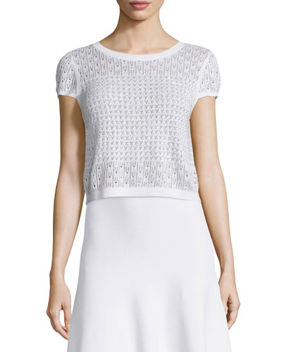 Ester Short-Sleeve Eyelet Sweater, White Metallic