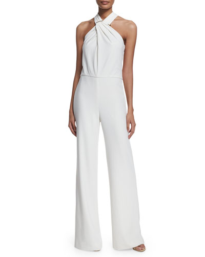 Crisscross Halter Wide-Leg Jumpsuit