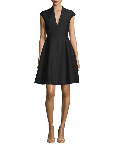 Structured Cap-Sleeve Dress