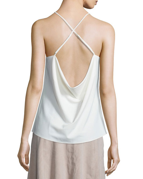 Halter Embroidered Cross-Back Top