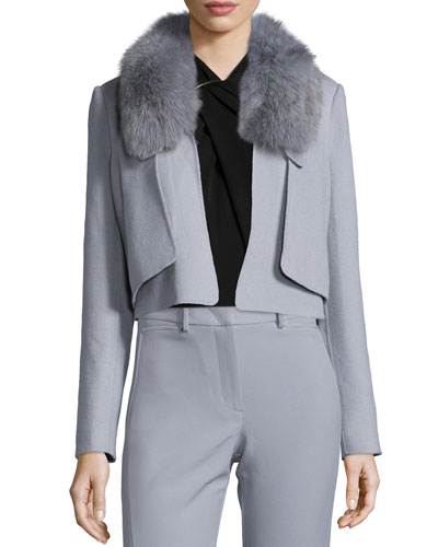 Cropped Removable-Fur-Collar Jacket