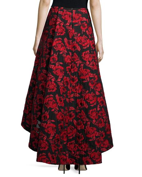 Floral Brocade Tea-Length Skirt