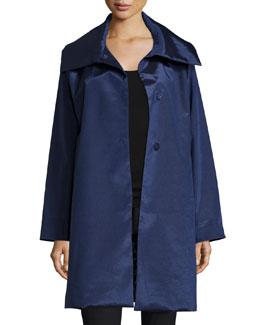 Snap-Front High-Sheen Coat