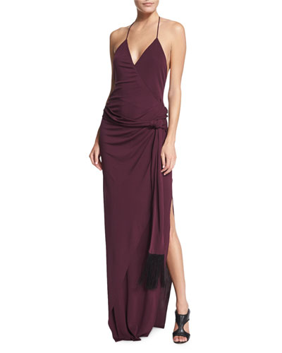 Sabrina Halter Maxi Dress, Aubergine
