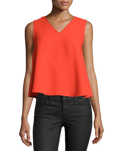 Volume Sleeveless V-Neck Top, Red