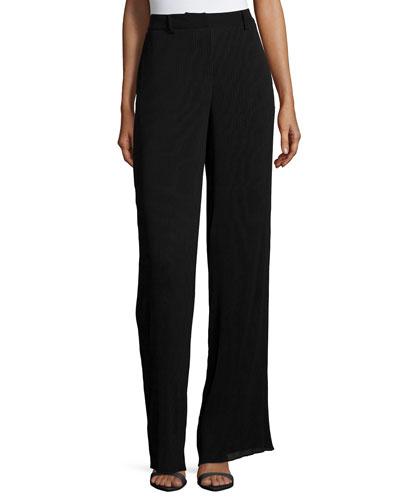 Pleated High-Waist Pants, Black