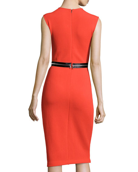 Zip-Trim Bodycon Sheath Dress, Red