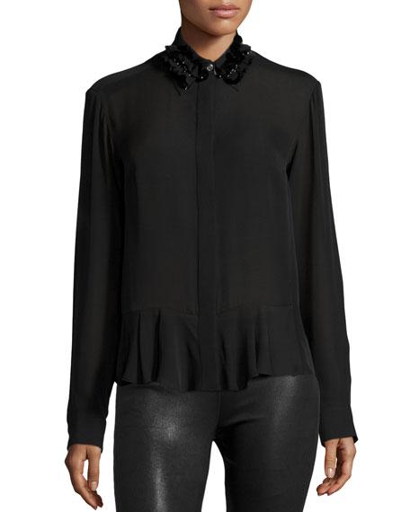 Silk Embroidered Peplum Shirt, Black