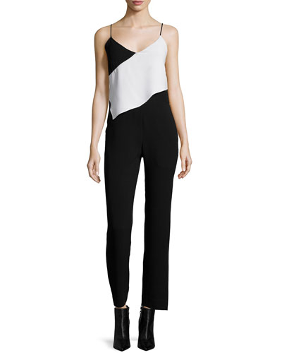 Scarf Colorblock Jumpsuit, Black