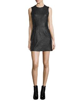 Studded Faux-Leather Mini Dress, Black