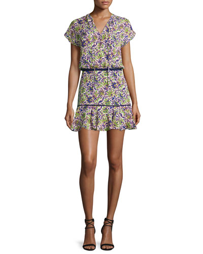 Floral Silk Boho Mini Dress