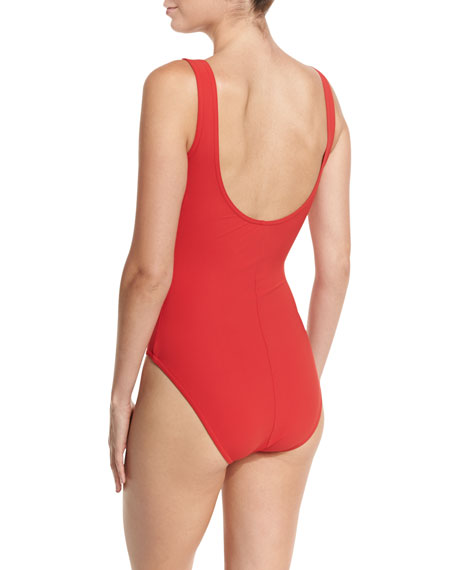 Lace-Up Front V-Neck One-Piece Swimsuit