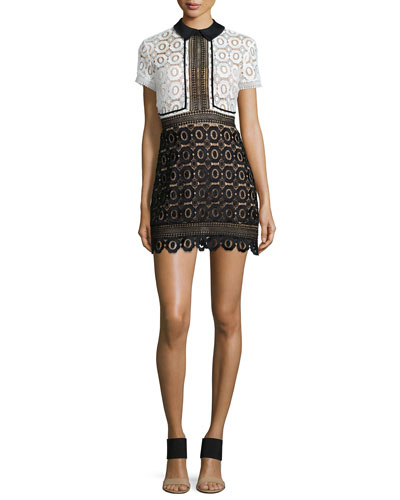 Felicia Collared Lace Dress, Black/White