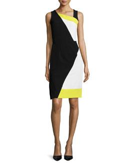Sleeveless Colorblock Sheath Dress
