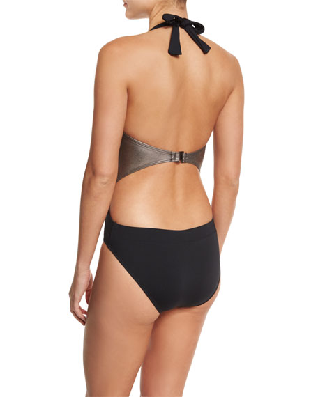 Jane Plunge-Neck One-Piece Swimsuit