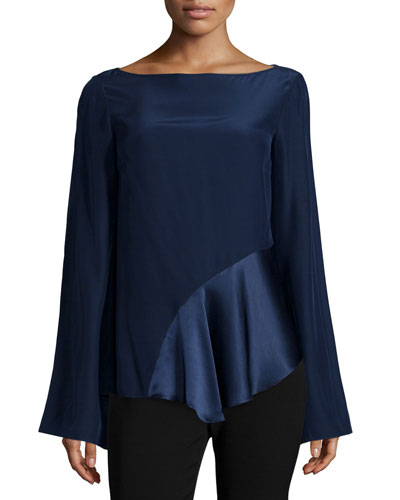 Krissy Asymmetric-Hem Ruffle Blouse, French Navy