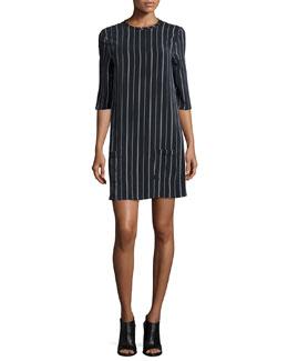 Aubrey Striped Shift Dress, True Black/White