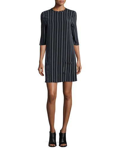 Aubrey Striped Shift Dress, True Black/White