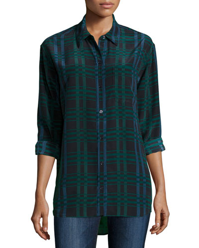 Daddy Long-Sleeve Plaid Blouse, Ink Multi