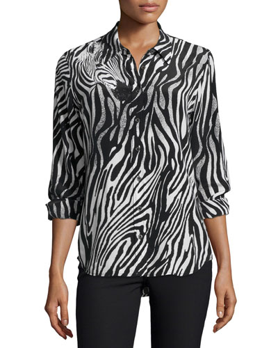 Brett Button-Front Shirt, Black/White