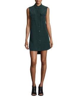 Slim Signature Sleeveless Shirtdress, Green