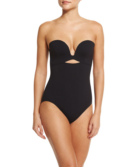 Plunge-Neck Solid One-Piece Swimsuit