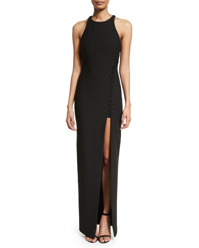 Amya Sleeveless High-Slit Maxi Dress, Black