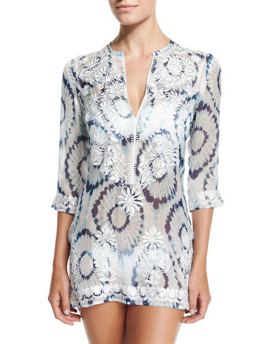 Embroidered-Front Printed Short Tunic Coverup