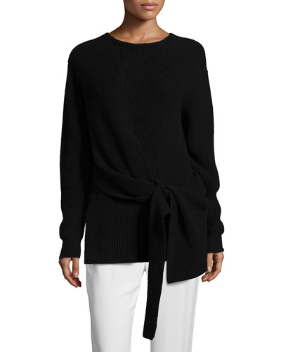 Draped Tie-Front Pullover Sweater, Black