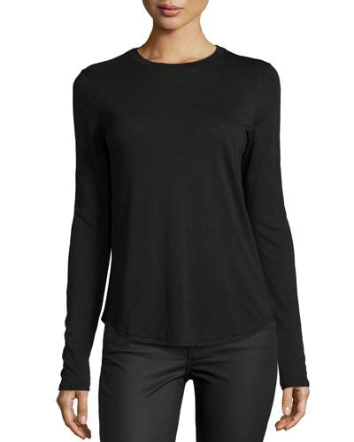 Solid Crewneck Long-Sleeve Shirt