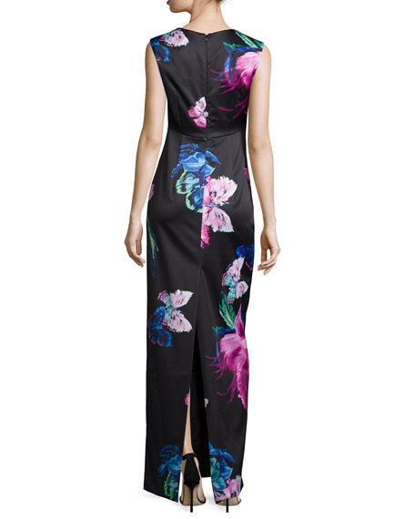Dita Butterfly-Print Column Gown