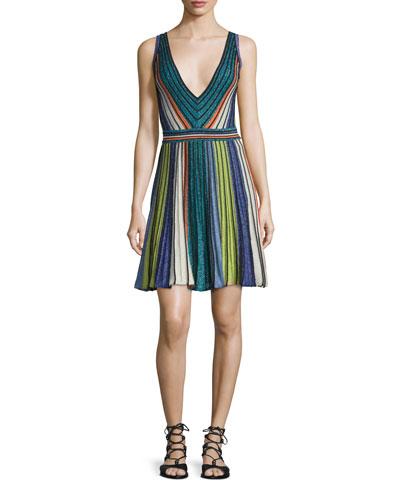 Sleeveless Vertical-Striped Dress, Black