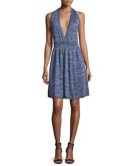 Halter-Neck Space-Dye Dress, Violet