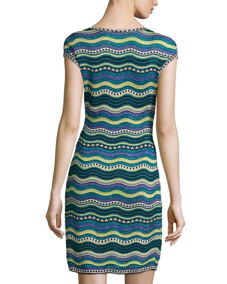 Star-Striped Sheath Dress, Teal