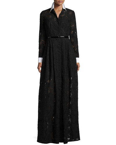 Long-Sleeve Lace Belted Gown